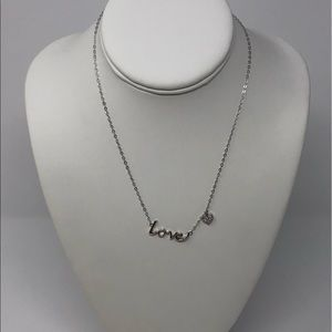 Jewelry - SS LOVE Script Necklace with Swarovski CZ ❤️